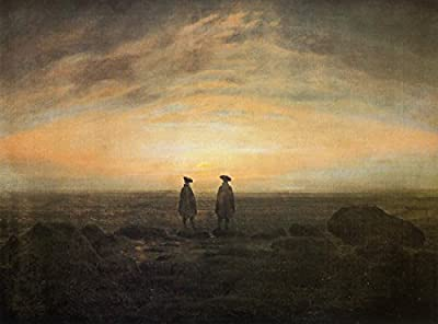 Two Men by the Sea at Moonrise by Caspar David Friedrich. 100% Hand Painted. Oil On Canvas. Reproduction. (Unframed and Unstretched).