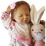 Seedollia Sleeping Reborn Baby Doll Girl Silicone Eyes Closed 18 inch Pink and White Dress with Toy Rabbit