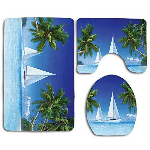 - EnmindonglJHO Nautical Window Scenery Sailboat Sea Life Seascapes Caribbean 3pcs Set Rugs Skidproof Toilet Seat Cover Bath Mat Lid Cover Cushions Pads