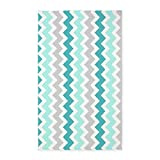 Cheap CafePress Teal Grey White Chevron 3'X5′ Decorative Area Rug, Fabric Throw Rug