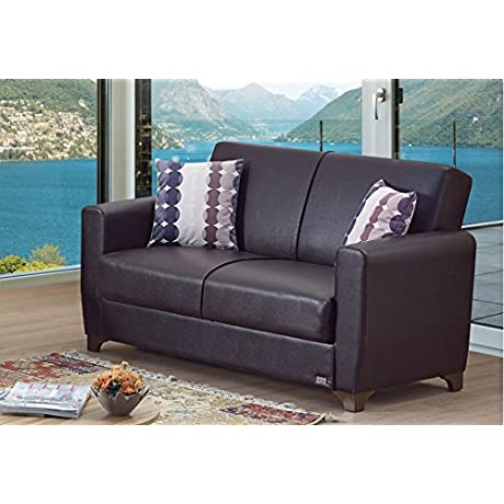 BEYAN Queens Collection Upholstered Convertible Loveseat With Easy Access Storage Space Includes 2 Pillows Dark Brown