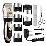 Dog Clippers,  Topop 6 Comb Guides Rechargeable Cordless Pet Grooming Clippers with Stainless Comb and Scissors and Cleaning Brush for Pet Dogs and Cats