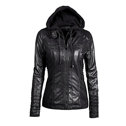 Hooded Leather Motorcycle Jacket (Womens Removable Hooded Faux Leather Motorcycle Jacket (XL, Black 01))