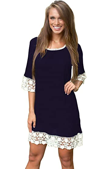 ed312084752 Summer Tunics for Women Short Sleeve Plus Size Round Neck Lace Casual Loose  T-Shirt