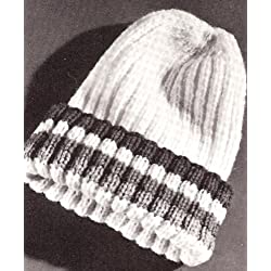 Vintage Knitting PATTERN to make - Knitted Beanie SNOW SKI Pea Cap HAT. NOT a finished item, this is a pattern and/or instructions to make the item only.