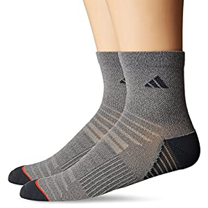 adidas Men's Superlite Speed Mesh Quarter Socks (2 Pack), Vista Grey/Dark Grey/Energy Red, Large