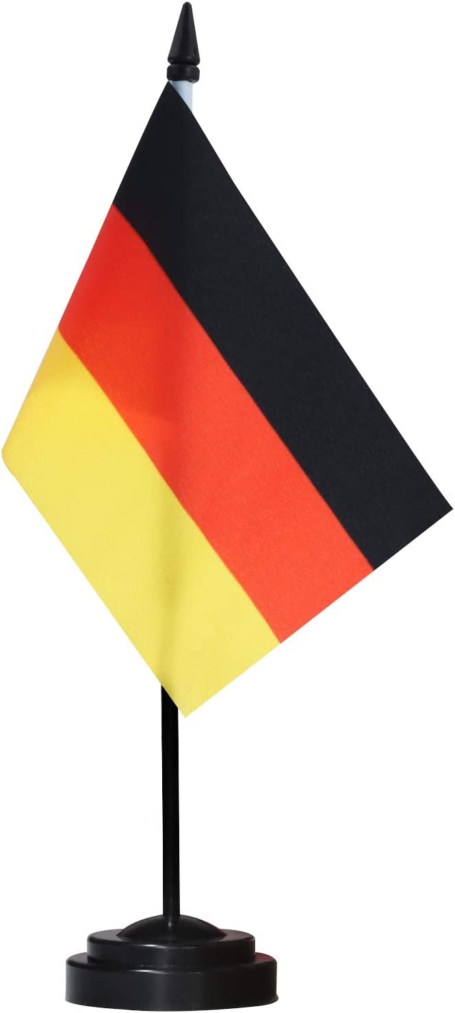"""ANLEY Germany Deluxe Desk Flag Set - 6 x 4 Inch Miniature German Desktop Flag with 12"""" Solid Pole - Vivid Color and Fade Resistant - Black Base and Spear Top : Office Products"""
