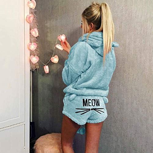 Huaheng Femme Hiver Chaud Pyjama Costume Peluche Capuche Dessin Anim/é Mignon Chat Motif Short 2XL Bleu Ciel