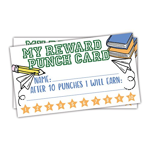 (50 School Doodles Reward Punch Cards for Teachers and Students - Kids Classroom and Homeschool Behavior Management Incentive Cards)
