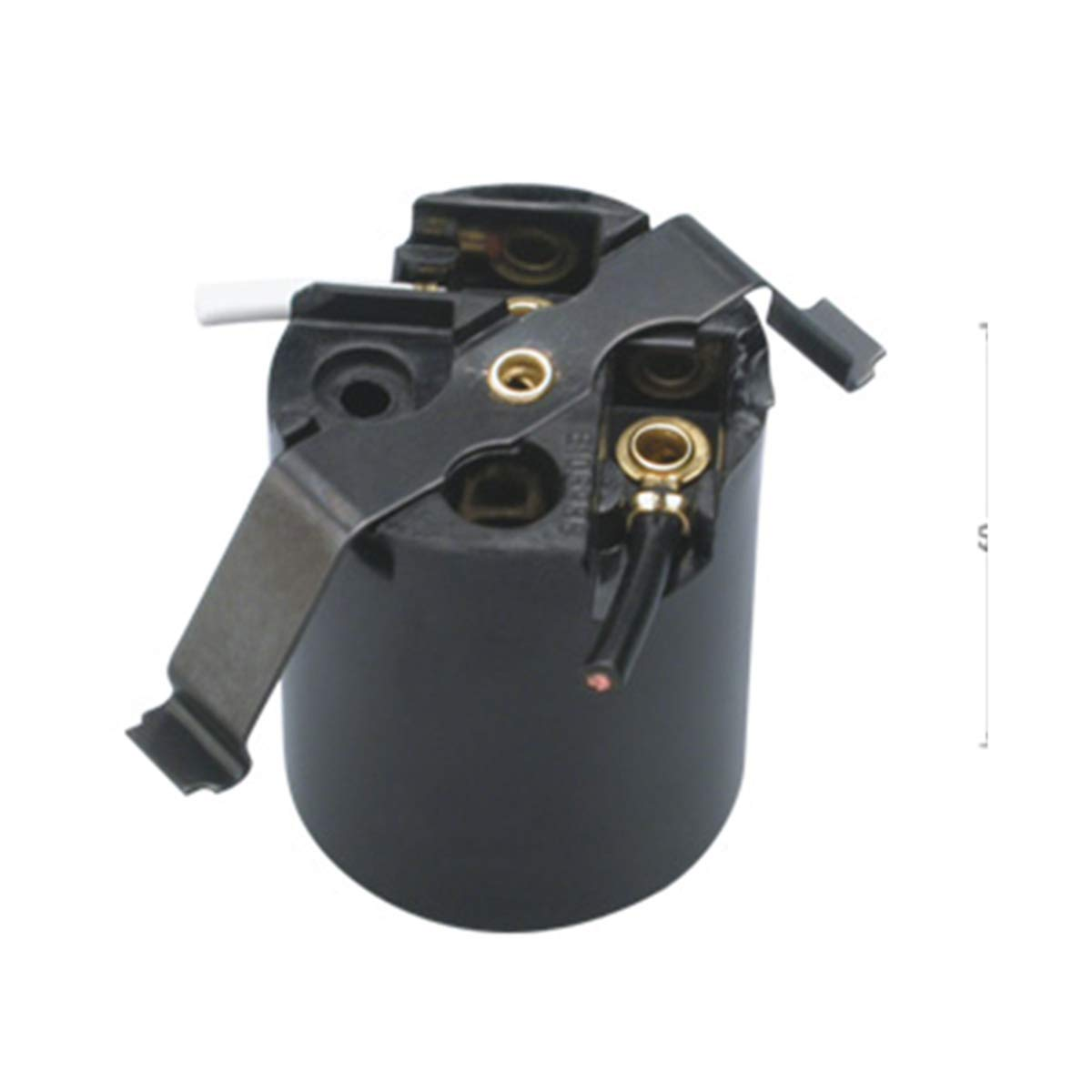 TWDRTTD Phenolic (Bakelite) Medium Base E26 Fixture Socket, US Standard Lamp Holder for E26 Edison Screw led, Incandescent Bulbs, One-Piece Keyless with Butterfly clip, Black (3 PACK)