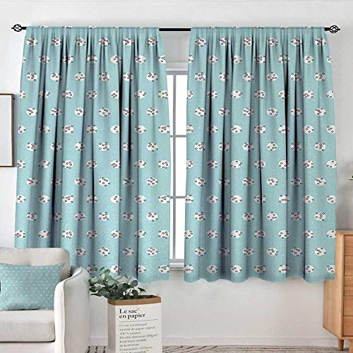 Theresa Dewey Blackout Curtains 2 Panels Light Blue,Geometric Image with Circles Rounds Inner Design Polka Dots Print,Sky Blue White and Black,Rod Pocket Curtain Panels for Bedroom & Kitchen 63