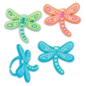 Dress My Cupcake DMC41DRG-RSET Dragonfly Jewel Ring Decorative Cake Topper, Spring, Assorted, Case of 144