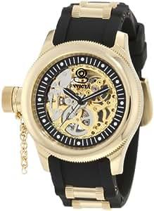 Invicta Women's 1825 Russian Diver Mechanical Gold Tone Skelton Dial Black Polyurethane Watch