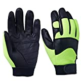 OZERO Deerskin Gloves, Grain Leather Motorcycle Glove for Motorcycle, Driving, Gardening, Hunting, Climbing - Extremely Soft and Snug Fit - Superior Grip Reinforced Palm Padding - (Green, Large)