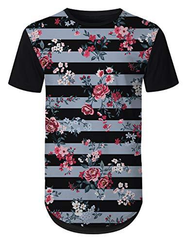 - URBANTOPS Mens Hipster Hip Hop Striped Floral Longline T-Shirt Black, XXL