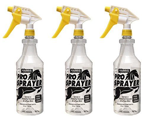 (Harris Professional Spray Bottle for Horses 32oz (3-Pack), Chemically Resistant with Clear Finish, High Output-Pressurized Sprayer, Adjustable Nozzle and Measurements)