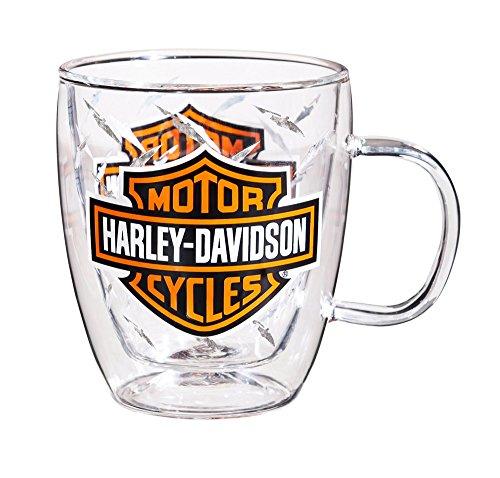 Harley-Davidson Bar & Shield Glass Blown Coffee Cup, Clear 12 oz. 3GCC4900