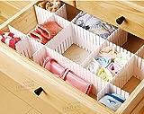 Duroetui Adjustable Plastic Drawer Closet Grid Divider Tidy Organizer Container Home Storage (45cm X 7cm ( 18'' X 2-3/4'' ), White)