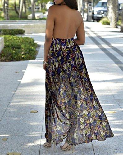 Backless Coolred Halter Vogue Maxi 1 Printing Women Bechwear Dress Bohemian qaav7At