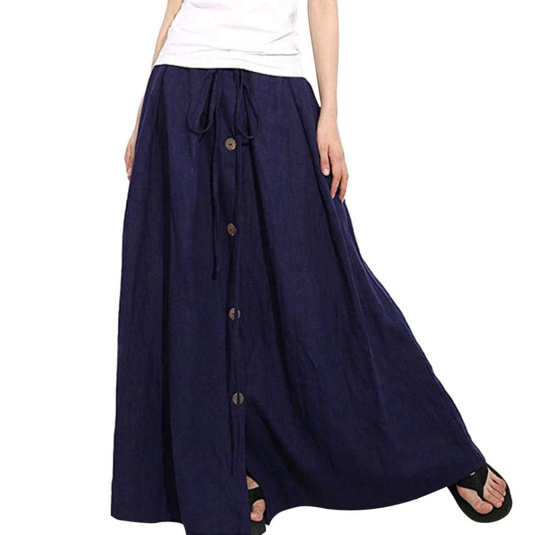 Spbamboo Women Hot Sale A-Line Elastic Waist Casual Button Flare Long Maxi Skirt