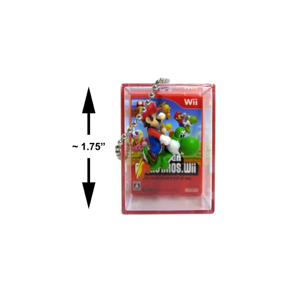 New Super Mario Bros Wii Bobble Figure Keychain Cube Mario riding Yoshi
