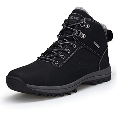 Mens Hiking Trekking Snow Boots Winter Waterproof Shoes Lace Up Anti-Slip Ankle Outdoor Shoes with Warm Fully Fur Lined