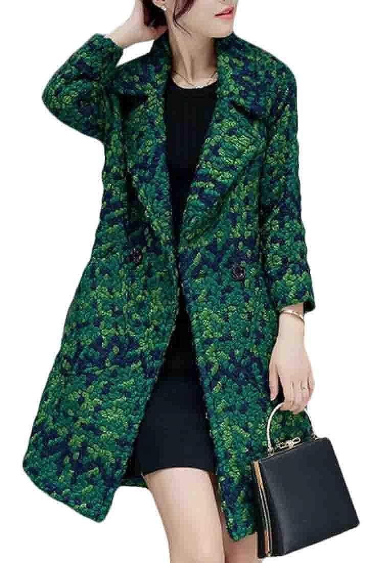 Green XiaoTianXinWomen XTX Womens Overcoat Notch Lapel Longline Trench Coats Slim Fit Plaid Pea Coat