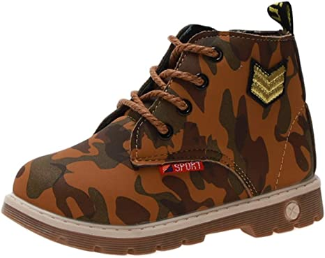 Kids Baby Boys Camo Casual Winter Warm Fur Lined Martin Sneaker Boots Shoes New