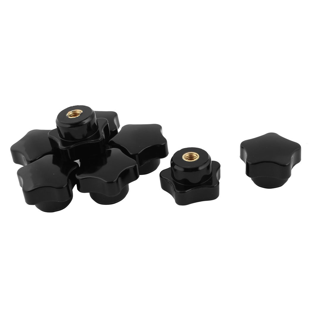 sourcingmap® Star Head Screw Clamping Knob Handle Grip 5mm Female Thread 8pcs Black a15121900ux2145