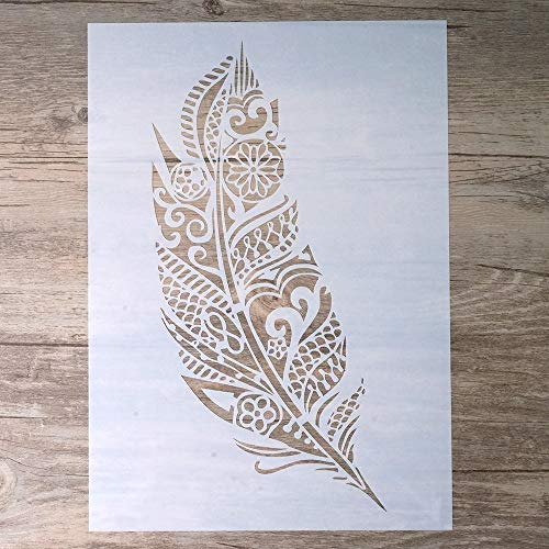A4 DIY Craft Layering Mandala Feather Stencil for Walls Painting Scrapbooking Stamping Album Decorative ()
