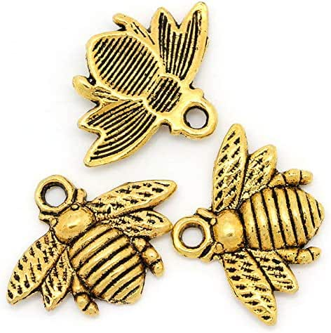 100 Gold Tone Honey Bee Charm 21 x 16mm or 13/16 x 5/8 Inch Bee Charm