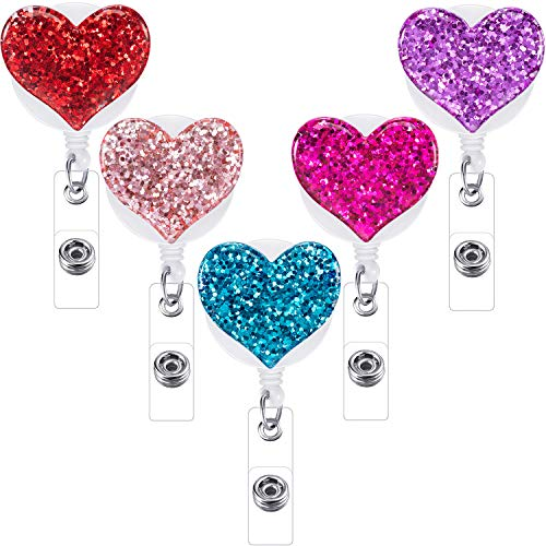 Boao 5 Pieces Retractable Badge Holder with Alligator Clip, ID Badge Reel Clip, Multiple (Heart)