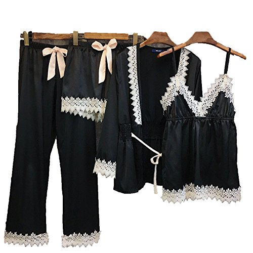4 Piece Boxer Cami - Pajamas for Women Silky Set 4 pcs Silk Satins Lace Sleepwear Thin Sexy Strap Dress Robe Shorts & Pants Home Wear (Black)