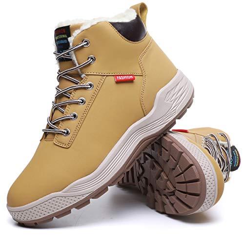 Aliwendy Mens Winter Snow Boots Fur Lined Warm Ankle Booties Waterproof Slip-on Sneakers Lightweight High Top Outdoor Shoes(Khaki 11)