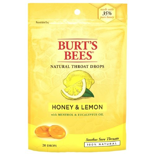 Burt's Bees Natural Throat Drops, Honey & Lemon 20 ea (Pack of 12)