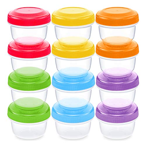 Leakproof Baby Food Storage | 12 Container Set | Premium BPA Free Small Plastic Containers with Lids Lock in Freshness, Nutrients & Flavor - Freezer & Dishwasher Safe 4oz Snack Containers for Kids (Baby Food Storage 4 Oz)