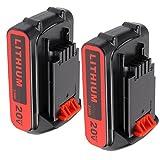 2.0Ah LBXR20 Replacement Battery for Black & Decker, 20V 2Pack Li-ion Rechargeable Battery for B&D LBXR20-OPE LB20 LBX20 LBX4020 LB2X4020-OPE Cordless Power Tools