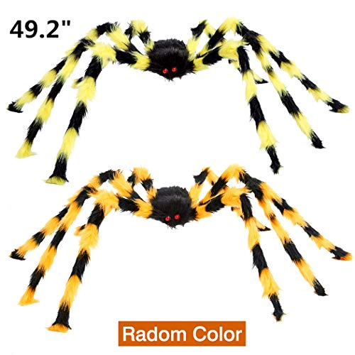 - VeMee Halloween Spider Decoration Fake Realistic Hairy Scary Spider Giant 50inch Haunted House Prop Black Spider Plush Prank Toy Halloween Indoor Outdoor Decoration