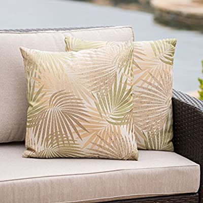 Christopher Knight Home Corona Outdoor Square Tropical Water Resistant Pillow (2, Tropical Sand) - Add some color to your patio set with these water resistant outdoor pillows Manufactured in China No assembly required! open and enjoy - patio, outdoor-throw-pillows, outdoor-decor - 51SBbXJFjaL. SS400  -