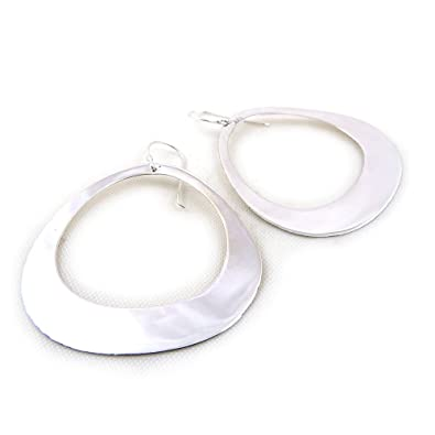 Solid 925 Sterling Silver Large Lightweight Flat Hoop Earrings Gift Boxed xIjXv6