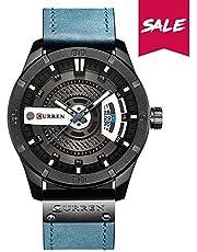 Curren Quartz Uhren Herren, Casual Chronograph Quartzuhr, Multifunktionale Militär Sport Wristwatch, Wasserdicht Lederarmband mit Datumsanzeige 8314