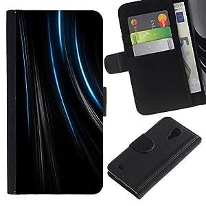 All Phone Most Case / Oferta Especial Cáscara Funda de cuero Monedero Cubierta de proteccion Caso / Wallet Case for Samsung Galaxy S4 IV I9500 // Lines Black Velvet Fabric Fashion