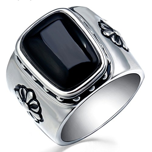 BOHO Men's Stainless Steel Vintage Large Square Black Agate Stone Ring Silver White Size 9