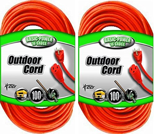Coleman Cable 02309 16/3 Vinyl Outdoor Extension Cord, Orange cCWere, 100-Feet, 2Pack