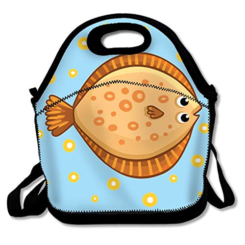 Cute Cartoon Flatfish Isolated Lunch Tote Soft Bag Cooler Box Lunchbox Bag Handbag Case Lunch Tote/Cooler/Lunch Box with Zip