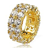 Jewelrysays Hip Hop CZ Jewelry Mens Fashion Zircon 2 Row Tennis Ring Gold Plated Dimond Ring Gifts