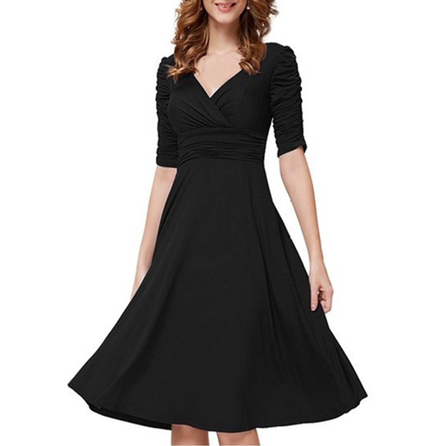 Sunsent Lady Deep V Neck Front Pleated Bodycon Party Cocktail Nightclub Dress