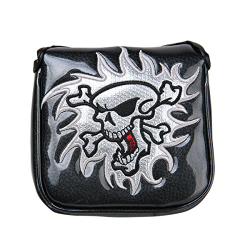 Sword &Shield sports New Black White Skull Square Mallet Putter Cover Headcover For Scotty Cameron Taylormade Odyssey (Black Putter Headcover)