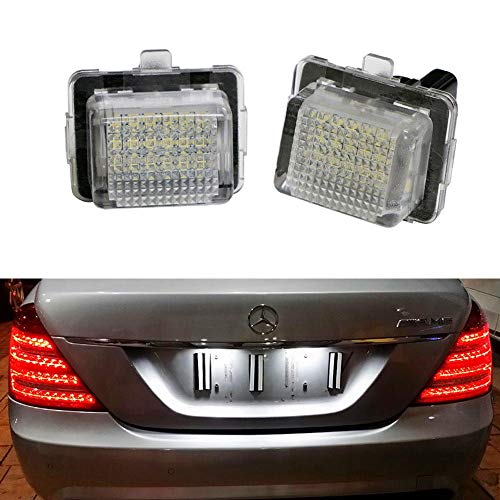 iJDMTOY OEM-Fit 3W Full LED License Plate Light Kit For Mercedes-Benz C CLS CLA E S SL SLK Class, Powered by 18-SMD Xenon White LED & Can-bus Error Free