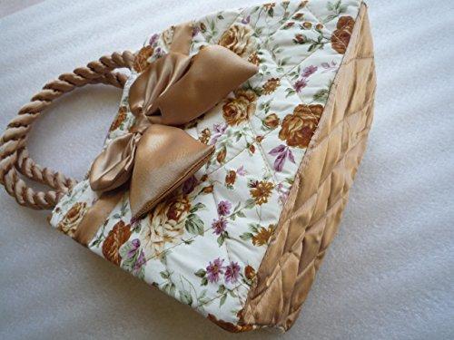 Ariyas Thaishop, kleine Damenhandtasche aus Baumwolle mit Schleife und Blumenmuster 20 x 20 x 13 cm (BxHxT)
